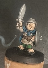 Essex Miniatures 28mm halfling swordsman front